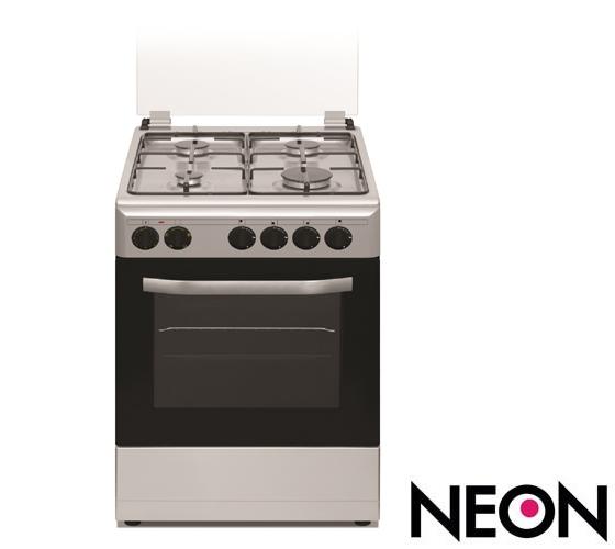 תנור משולב כיריים נאון צר 4 תוכניות בעל תאורה פנימית בגימור לבן דירוג אנרגטי B דגם NE-GO5055IX